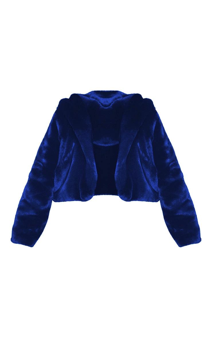 Plus Blue Cropped Faux Fur Hooded Coat 3