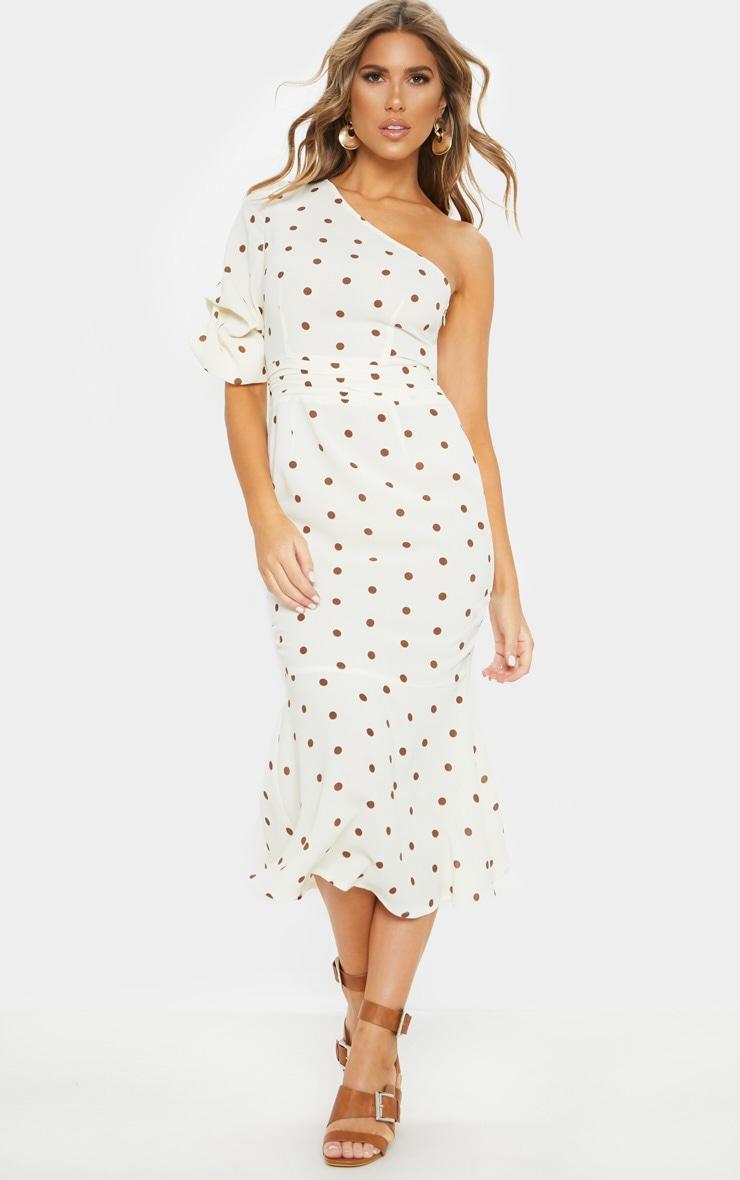 Nude Polka Dot One Shoulder Fishtail Midi Dress 1