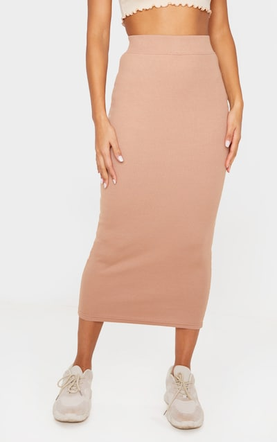 Camel Heavy Rib Bodycon Maxi Skirt