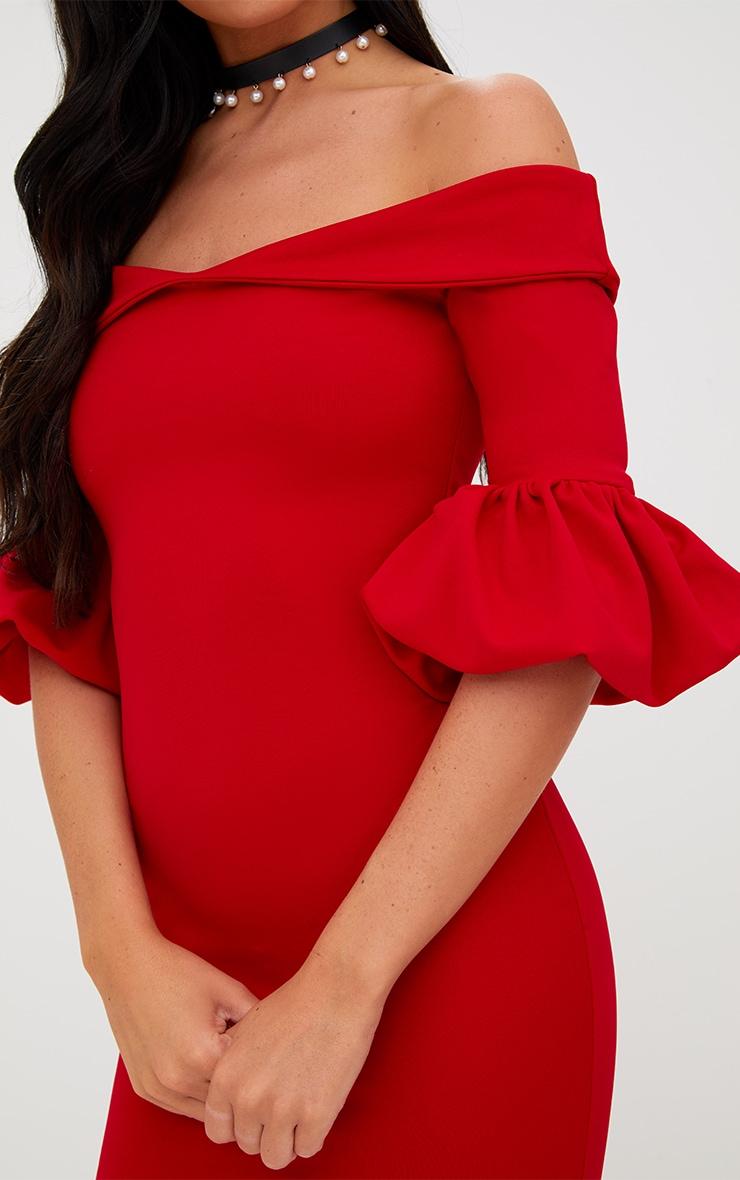 Red Puff Detail Bardot Bodycon Dress 5