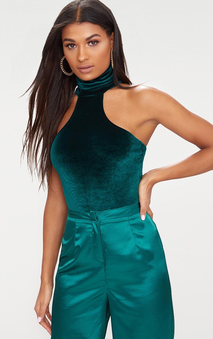 Emerald Green Velvet High Neck Cut Out Shoulder Thong Bodysuit  2