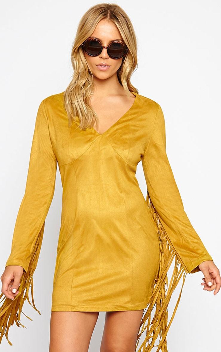 Nexie Mustard Faux  Suede Fringe Mini Dress 4