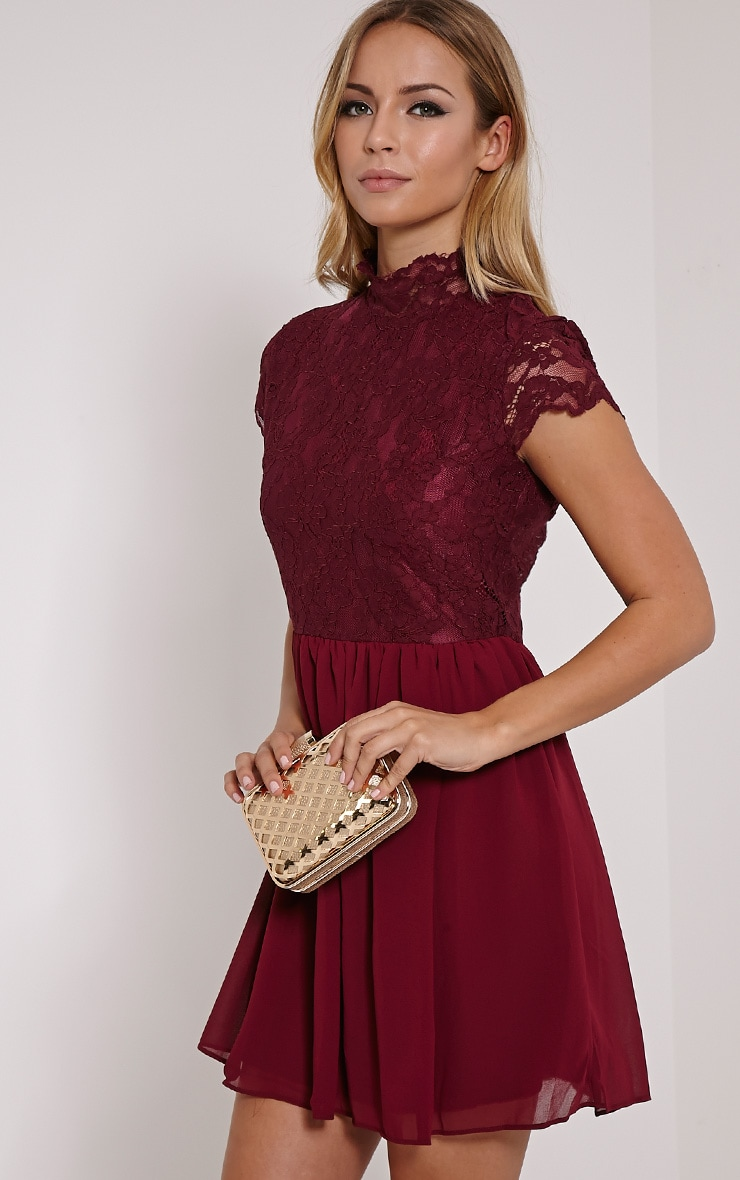 Ella Burgundy High Neck Lace Skater Dress 4