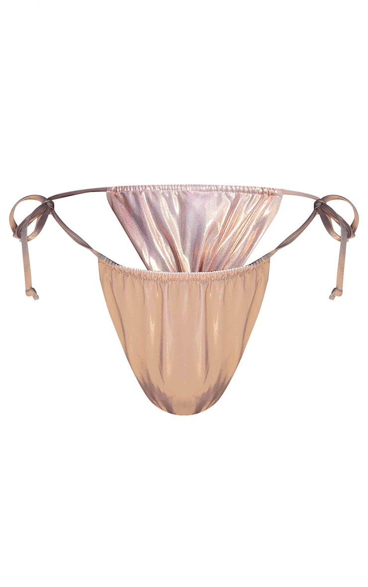 Rose Gold High Shine Tie Side Bikini Bottoms 4