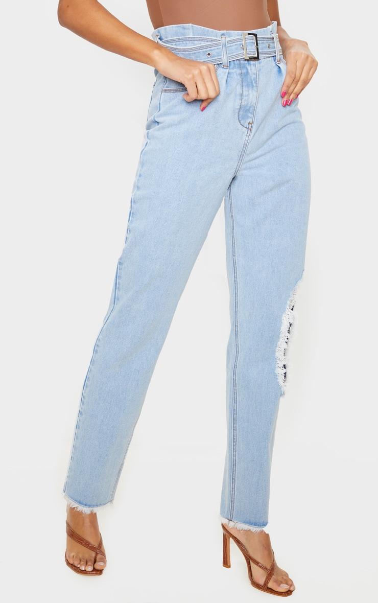 Vintage Wash Distressed Knee Ripped Jeans 2
