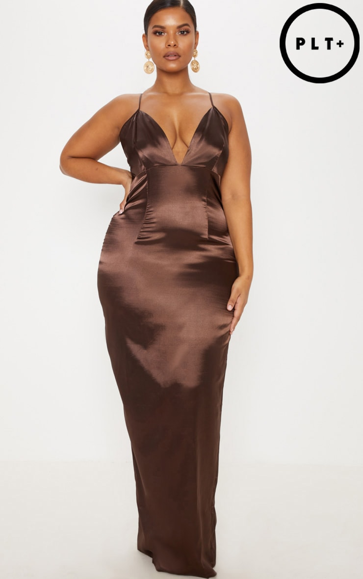 Plus Chocolate Brown Satin Strappy Maxi Dress 1