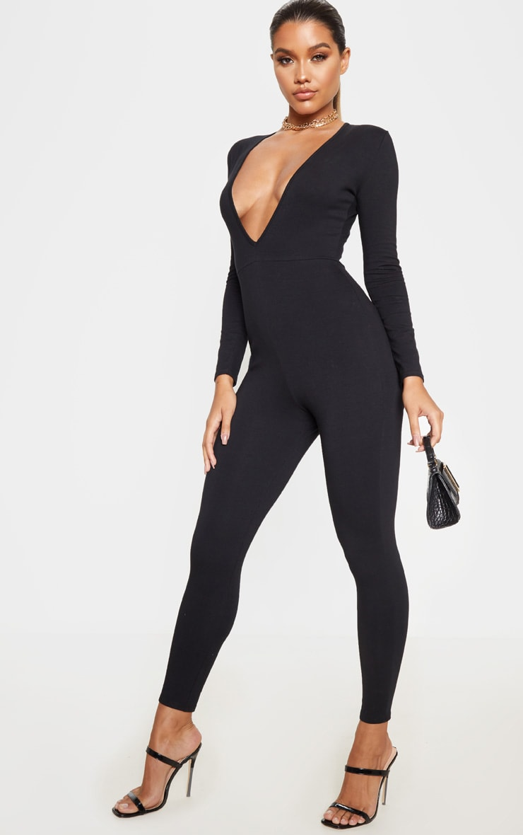 Black Cotton Elastane Long Sleeve Jumpsuit 4