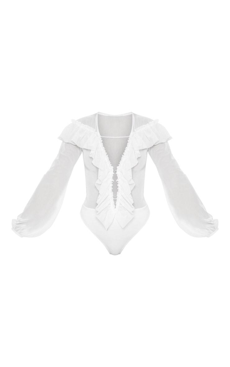 White Ruffle Mesh Plunge Bodysuit 3