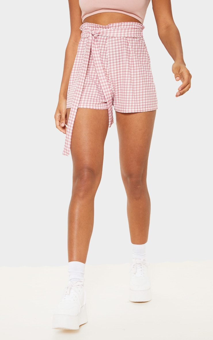 Dusty Pink Gingham Print Ruched Tie Waist Short 2
