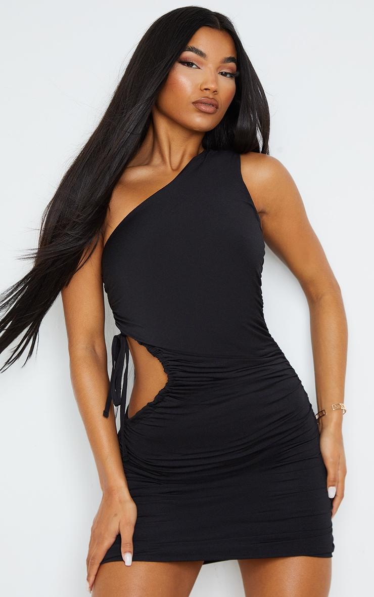 Black Slinky One Shoulder Cut Out Waist Bodycon Dress 1