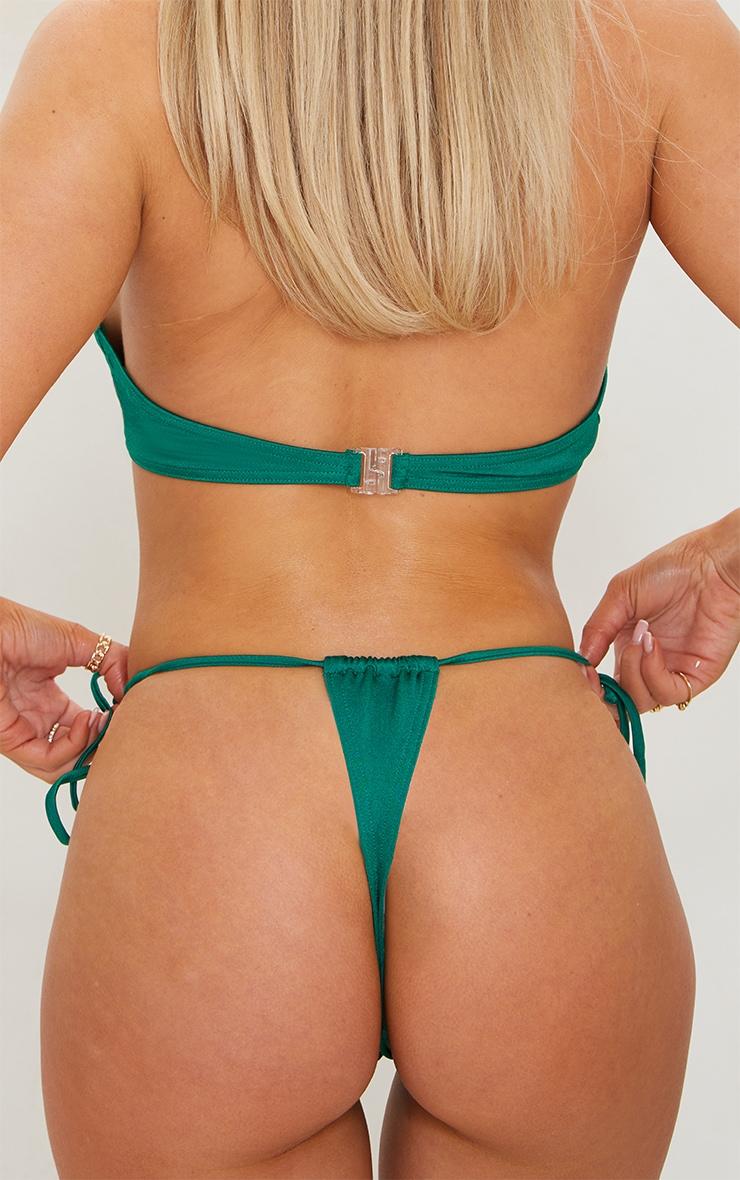 Green Tie Side Adjustable Mini Thong Bikini Bottoms 3