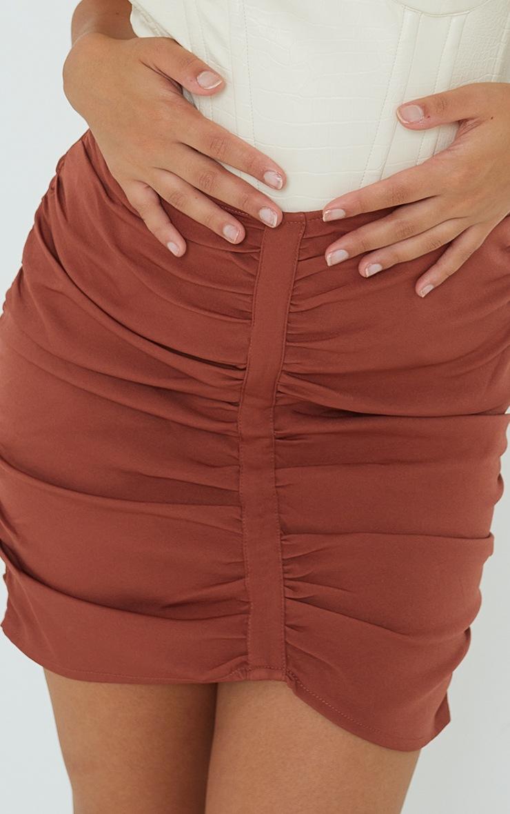 Petite Rust Dip Waist Mini Skirt 5