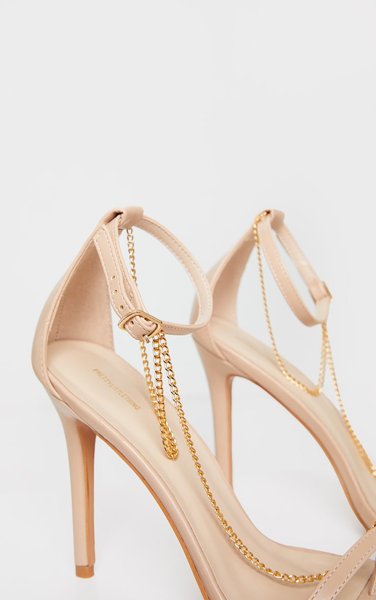 Nude Square Front Chain Detail High Heels 4