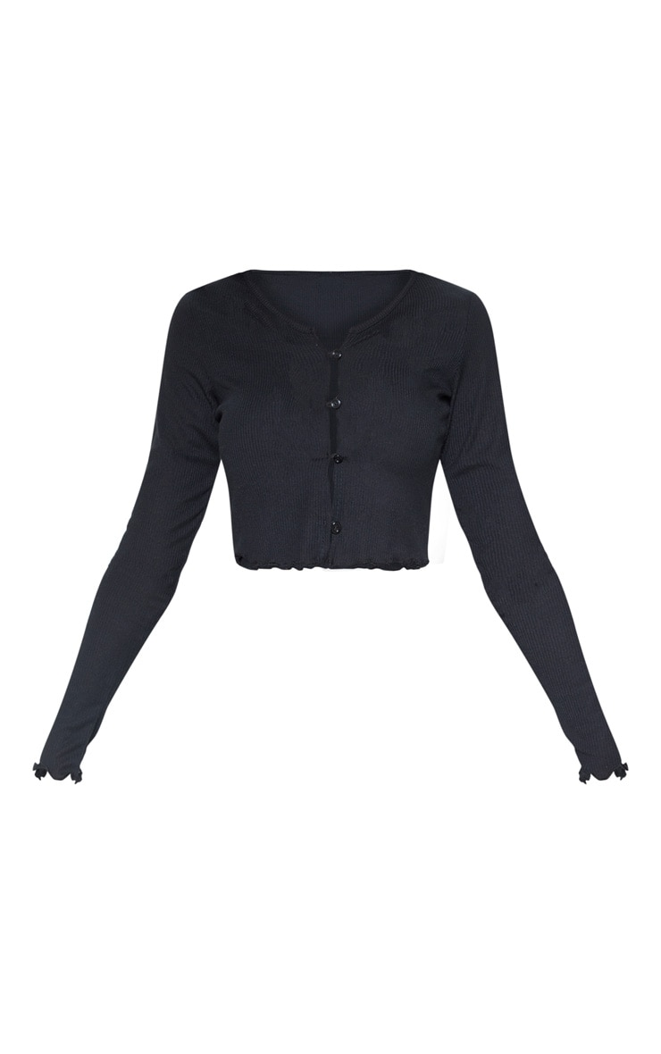 Black Rib Button Front Long Sleeve Crop Top 3