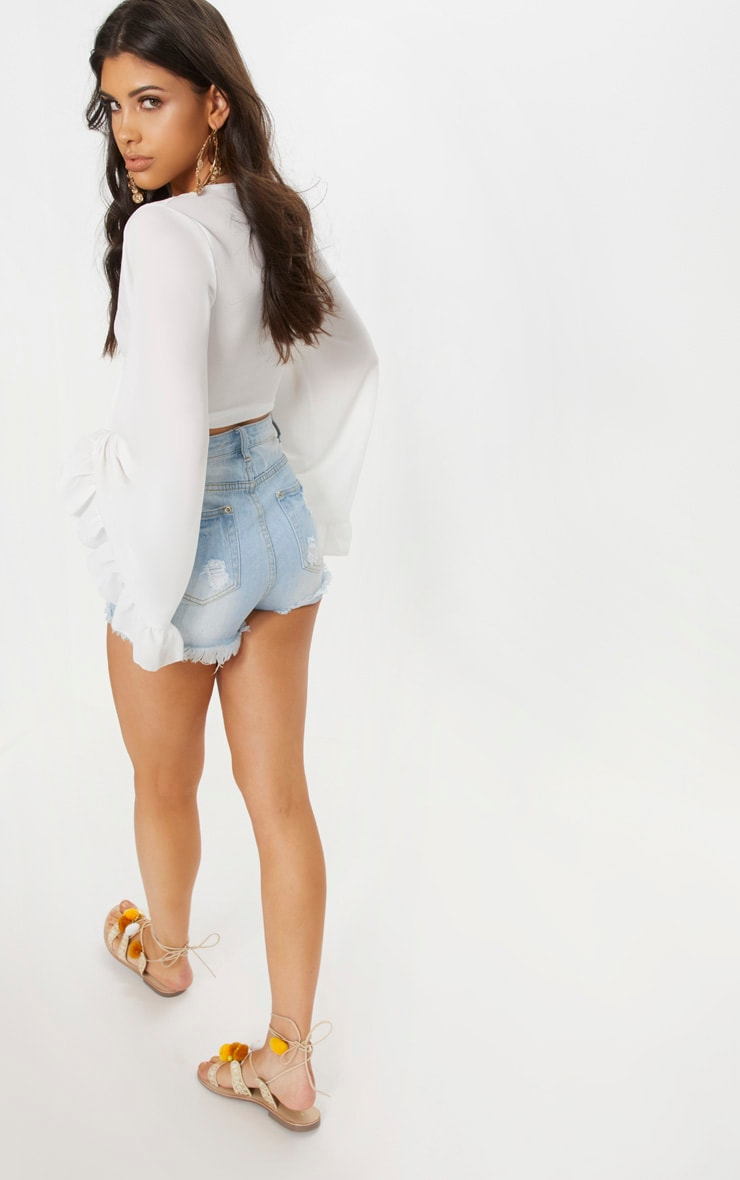 White Tie Front Extreme Sleeve Crop Top  2