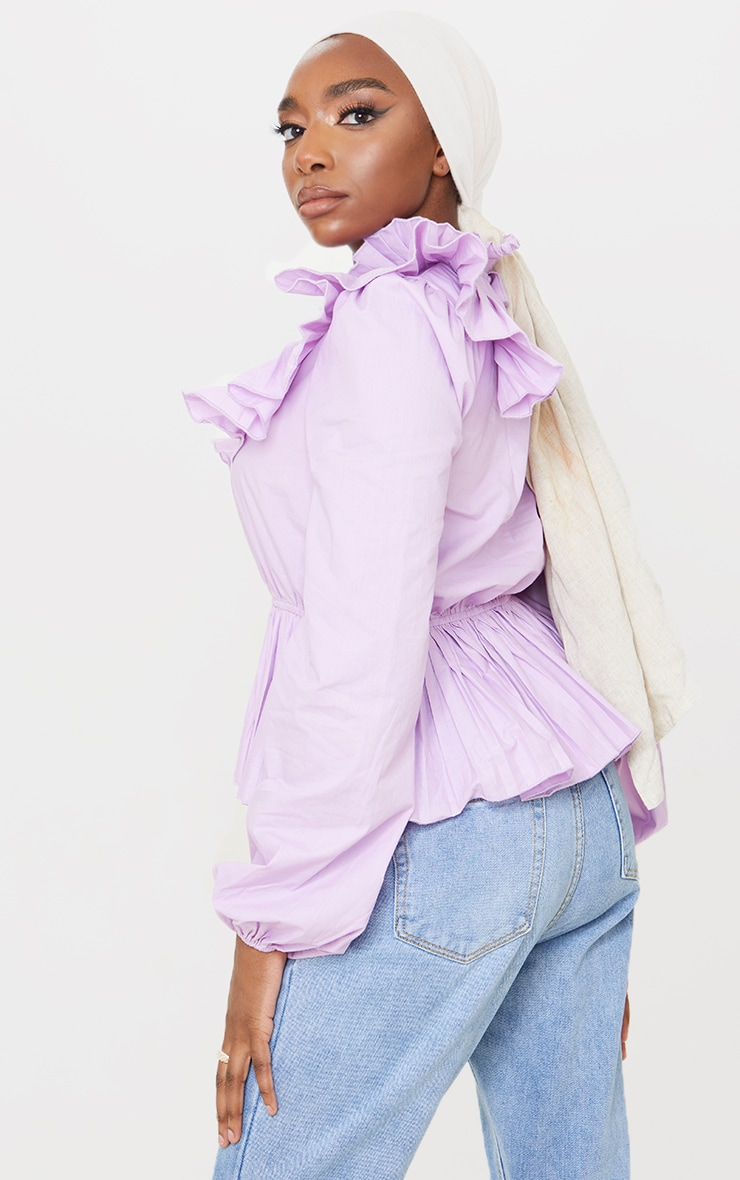 Lilac Frill High Neck Peplum Top 2
