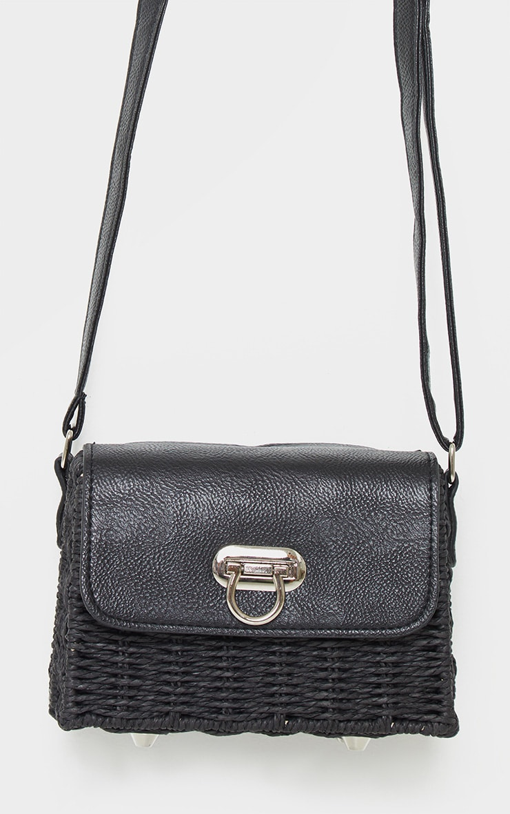 Black Square Structured Straw Cross Body Bag 2
