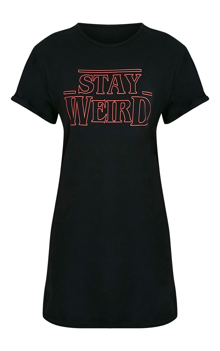 Stay Weird Black Print T-Shirt Dress 3