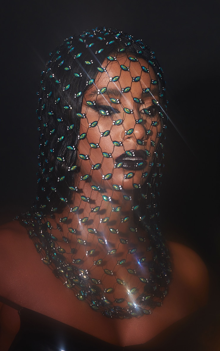 Iridescent Diamante Mesh Balaclava 1