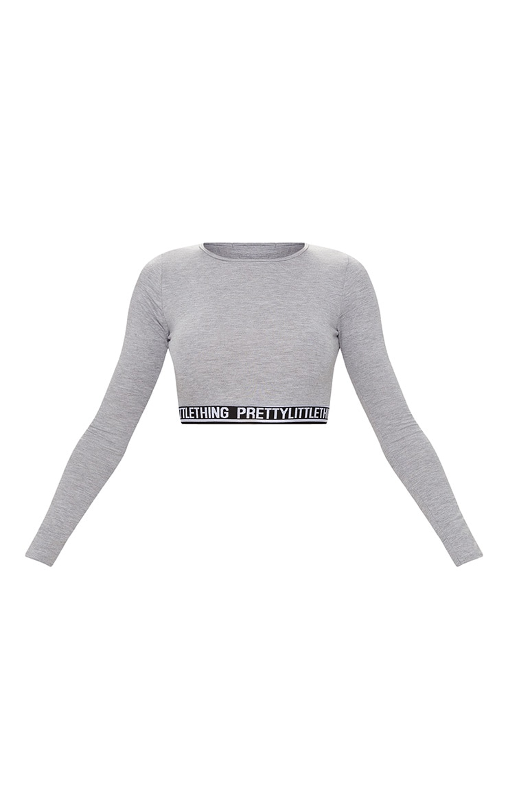 PRETTYLITTLETHING Grey Marl Long Sleeve Crop PJ Top 3