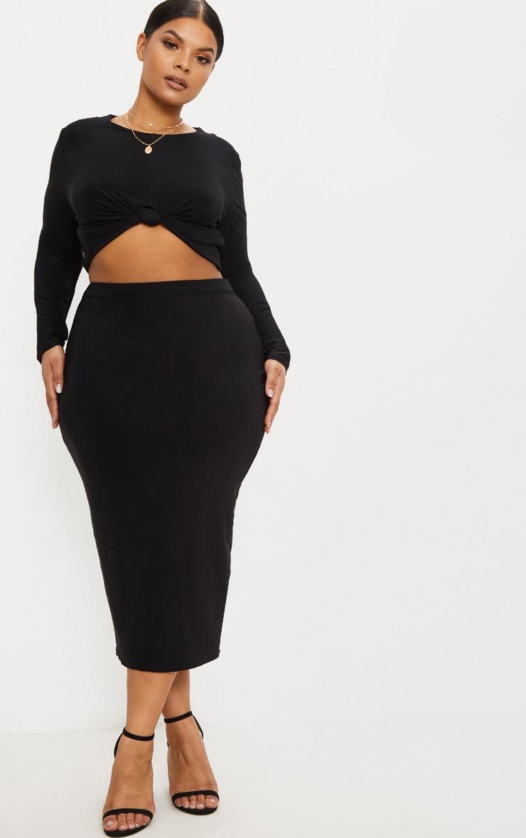Plus Black Slinky Midi Skirt 1