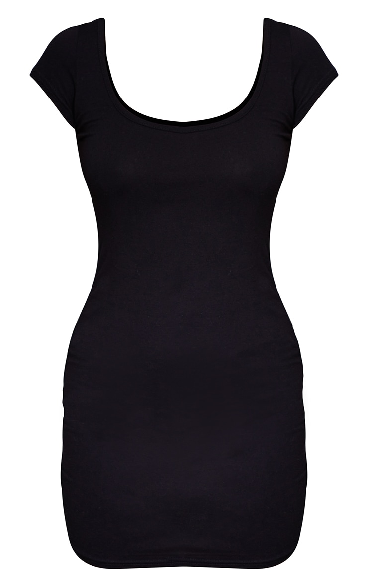 Petite Black Cap Sleeve Mini Dress 6