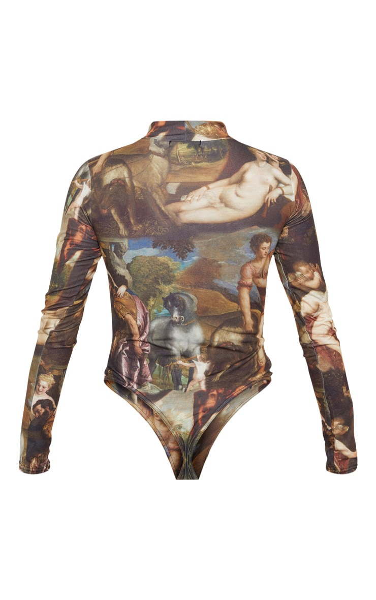 Multi Renaissance Printed High Neck Long Sleeve Bodysuit 4