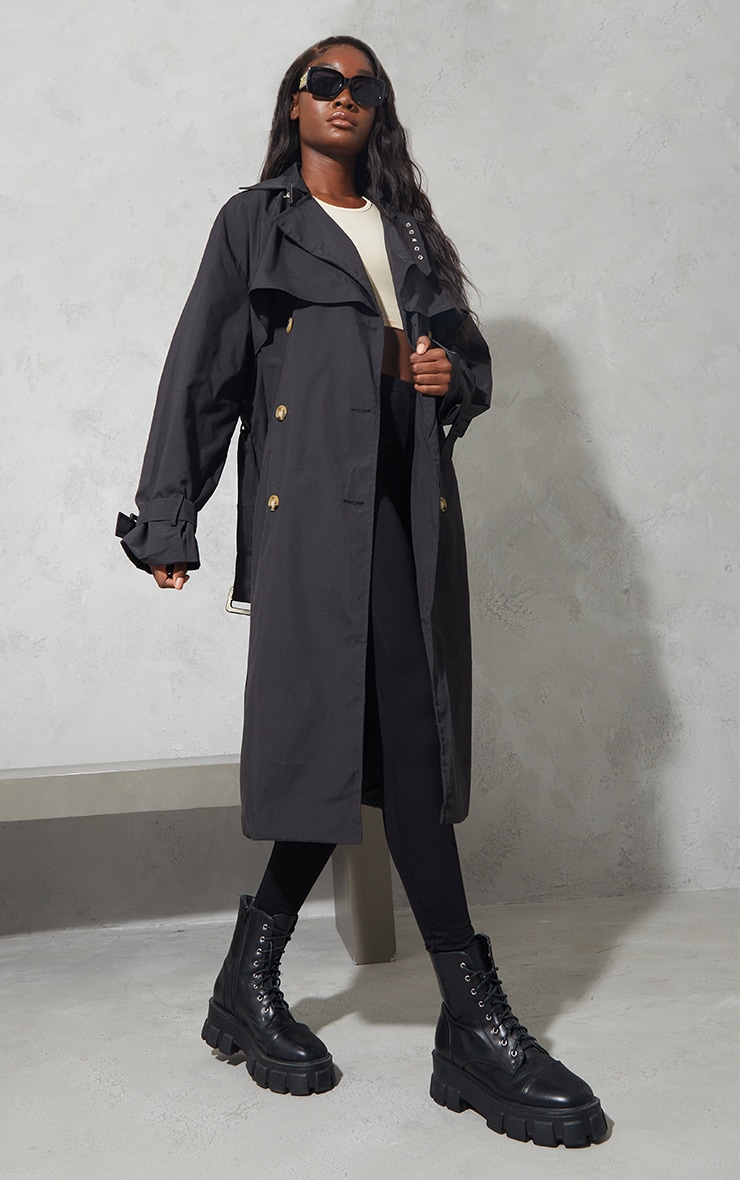 Tall Black Oversized Belted Midi Trench 3