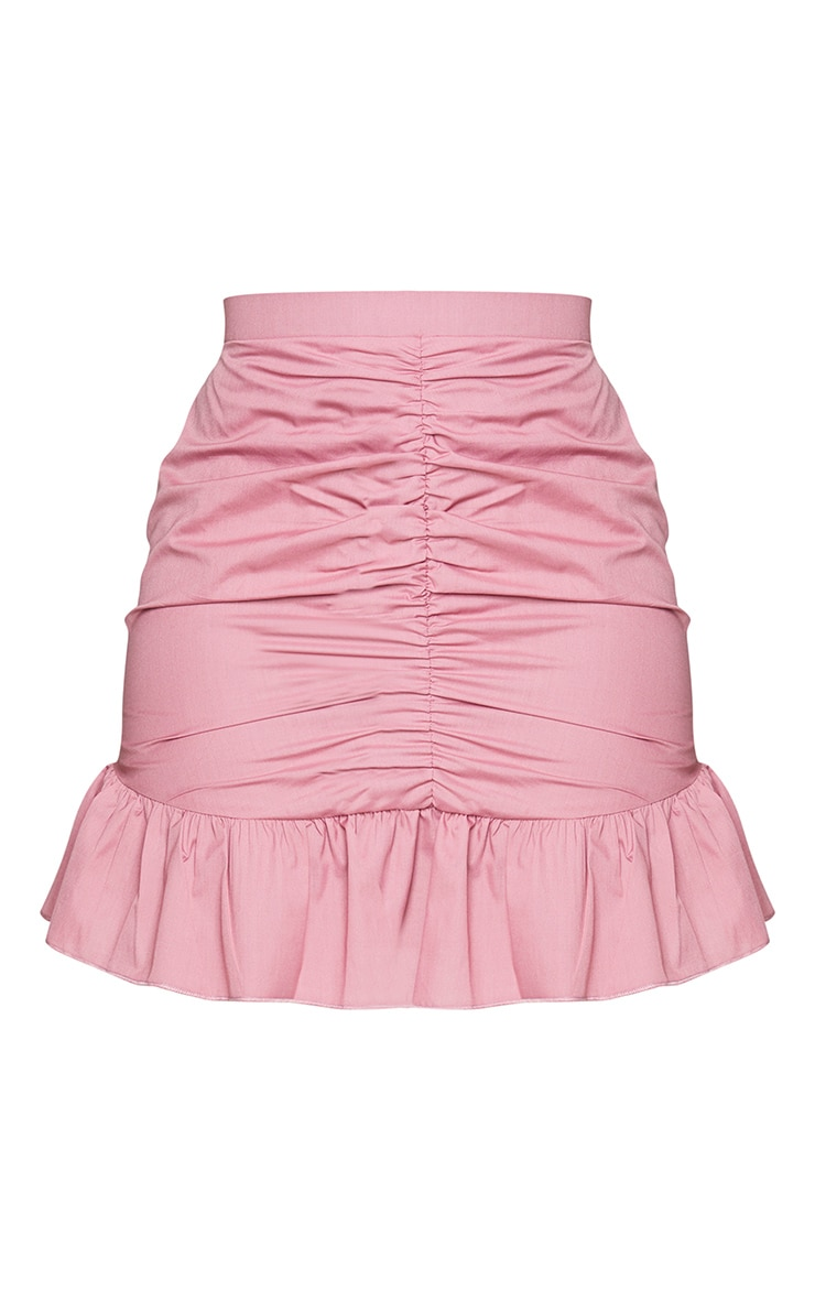 Dusty Pink Woven Ruched Frill Hem Mini Skirt 6