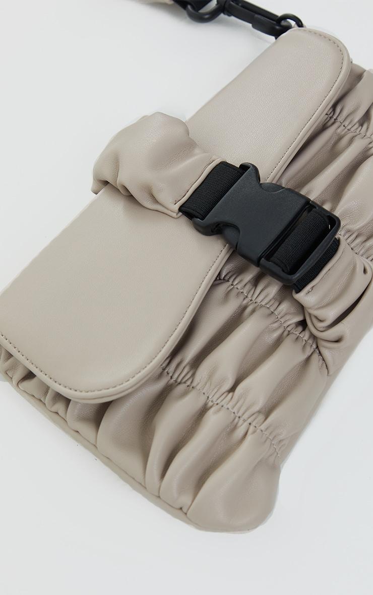 Stone Ruched PU Cross Body Bag 3