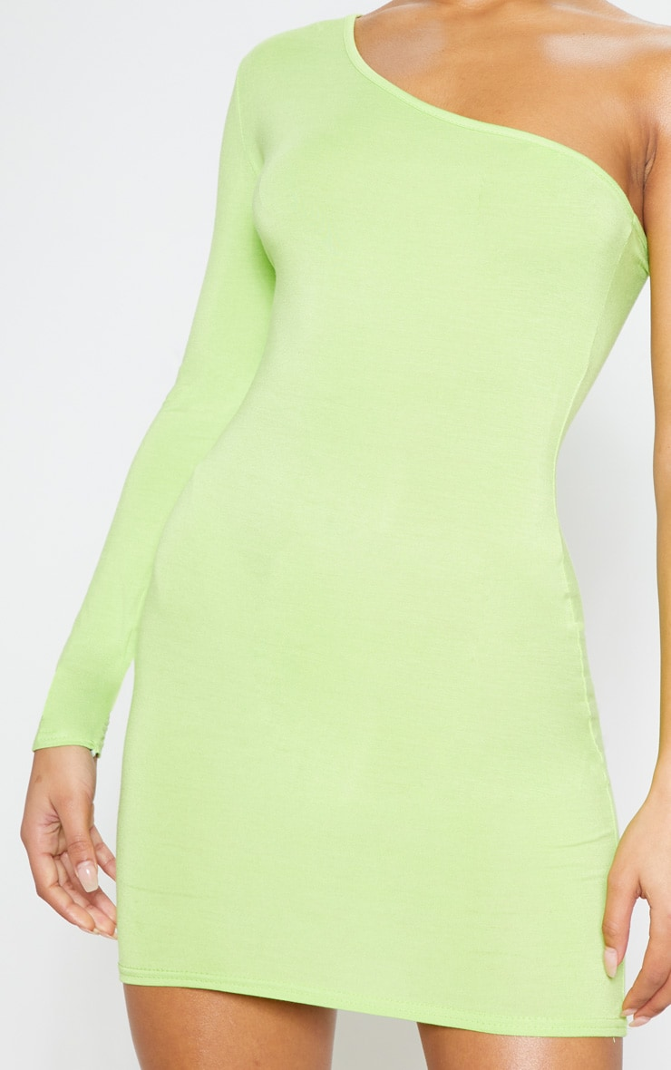 Neon Lime One Shoulder Long Sleeve Bodycon Dress  5