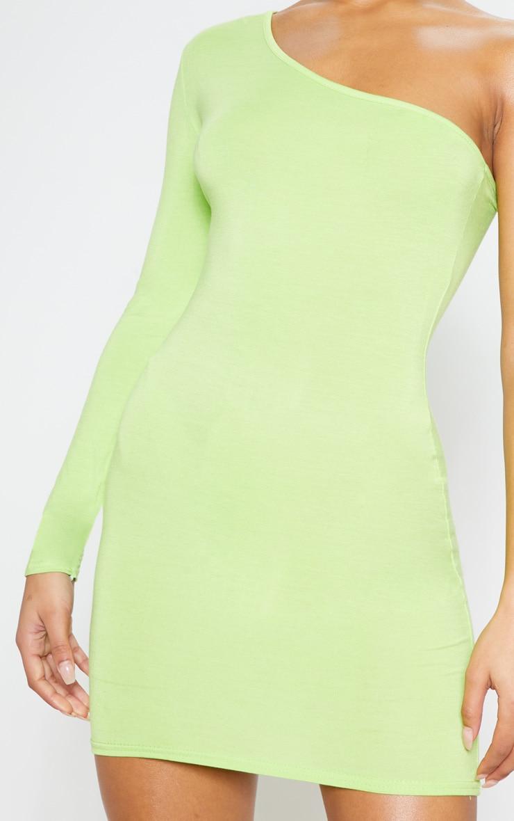 Robe moulante vert citron fluo à manche longue unique 5