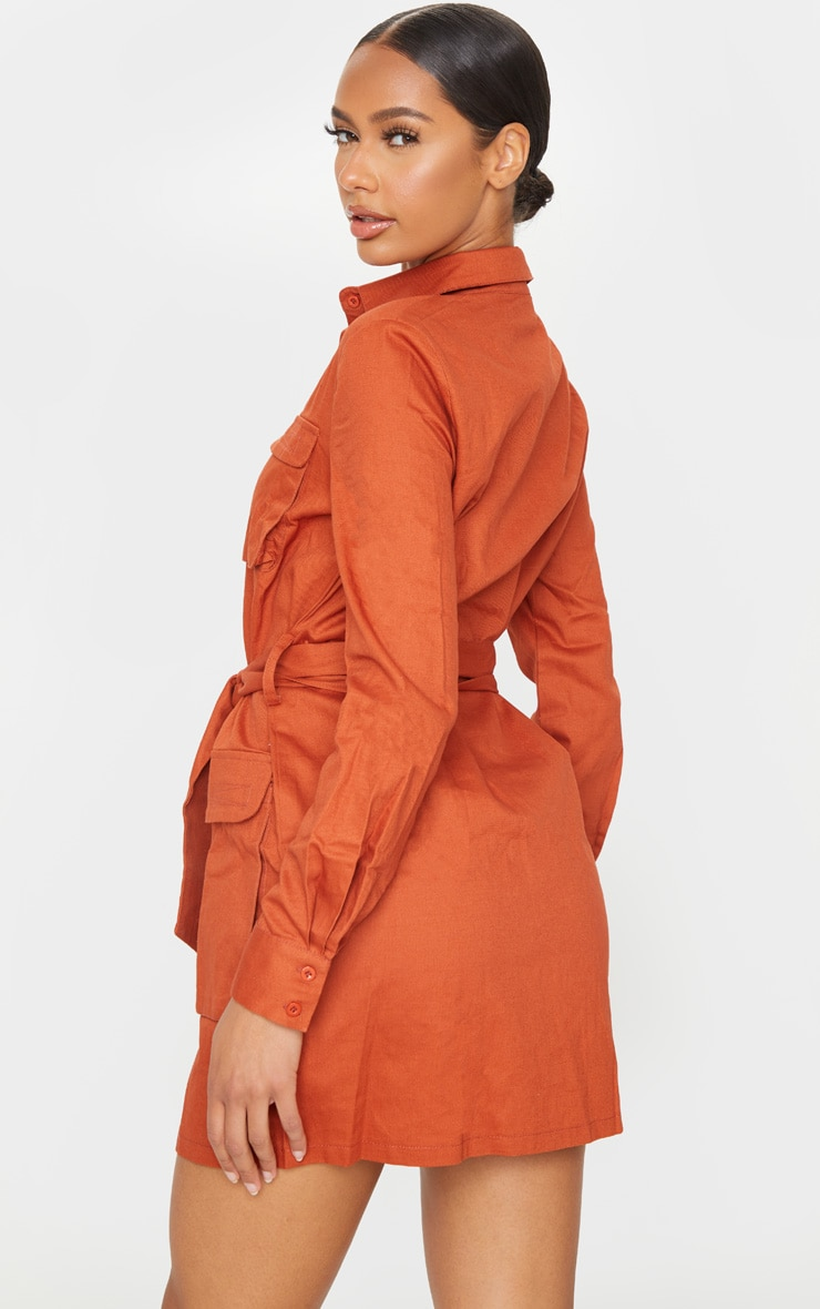 Terracotta Utility Tie Waist Shirt Dress 2