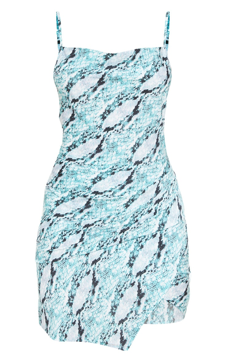 Mint Snake Cowl Ruched Bodycon Dress 3
