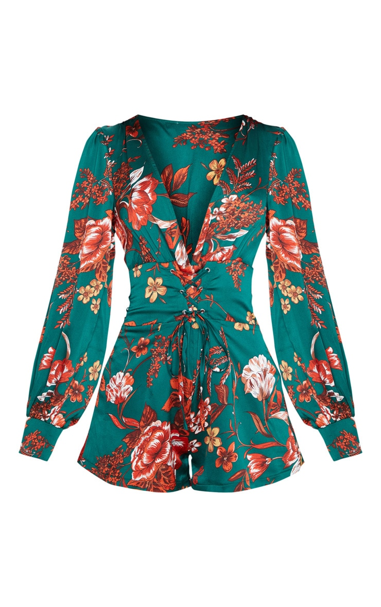 Emerald Green Floral Print Lace Up Long Sleeve Playsuit 3