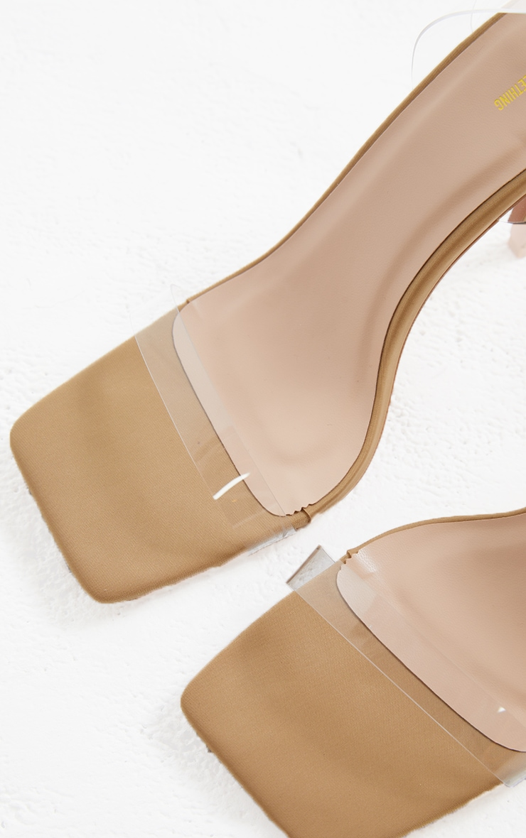 Nude Lycra Square Toe Clear Strappy High Heeled Sandals 4