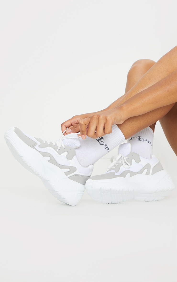 White Chunky Textured Sole Mesh Lace Up Trainer 1