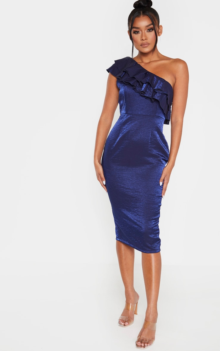 Navy Metallic One Shoulder Frill Midi Dress 4