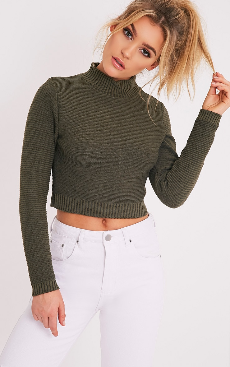 Khaki Ribbed Crop Knitted Jumper  1