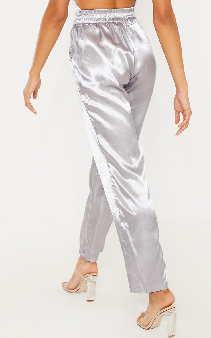 Silver Grey Satin Cigarette Casual Pants 3