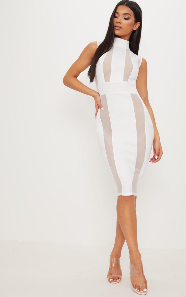 fcdad02d9e17 White High Neck Mesh Insert Sleeveless Bodycon Dress image 1