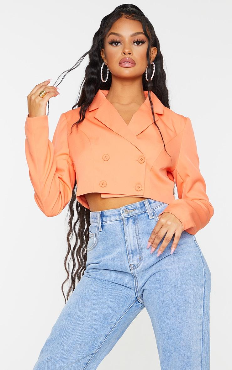 Orange  Double Breasted Cropped Blazer 1