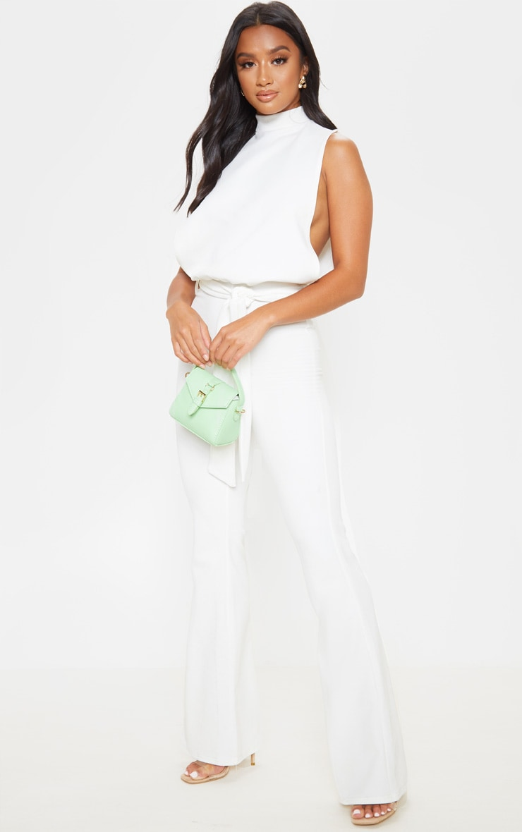 Petite White Scuba High Neck Tie Waist Jumpsuit  3