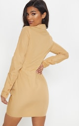 2675ca0c86fb4 Camel Plunge Ruched Tortoise Belted Bodycon Shirt Dress image 2