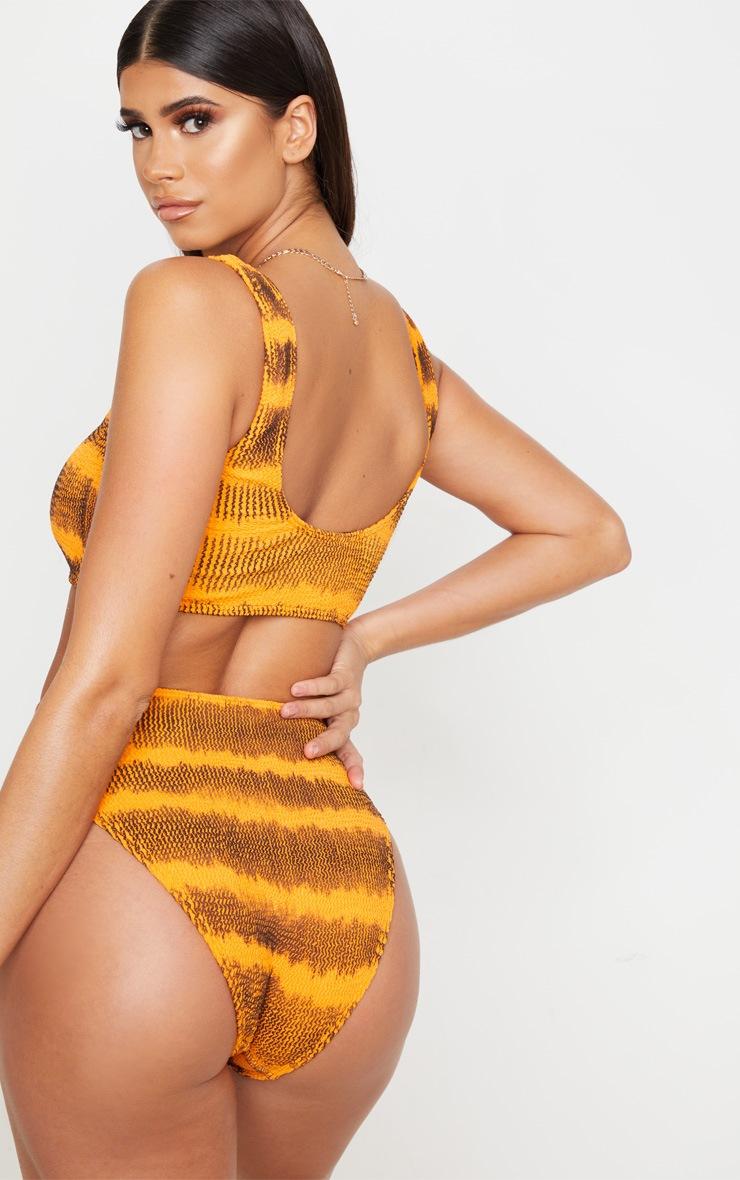 Orange Tie Dye Fuller Bust Crinkle Deep Scoop Bikini Top 2