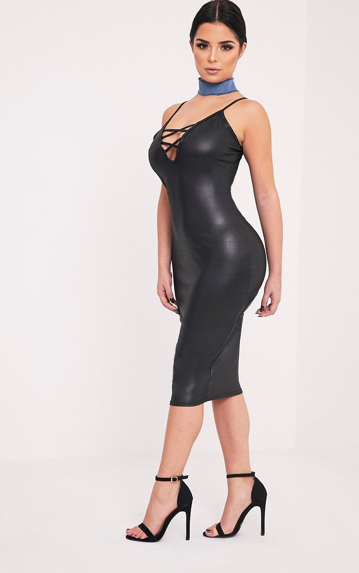 Shape Joleene Black Wet Look Plunge Midi Dress