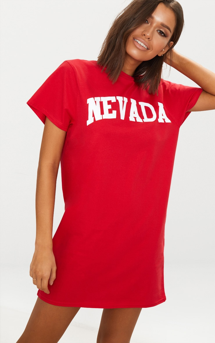 Nevada Red Oversized T Shirt Dress