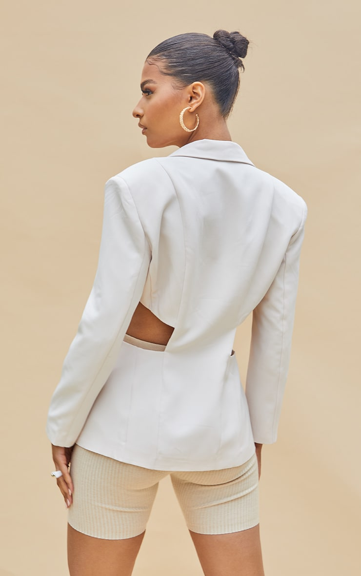 Cream Woven Extreme Cut Out Blazer 2