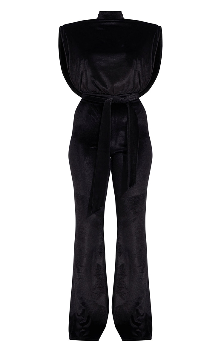 Petite Black Velvet Shoulder Pad Tie Waist Wide Leg Jumpsuit 5