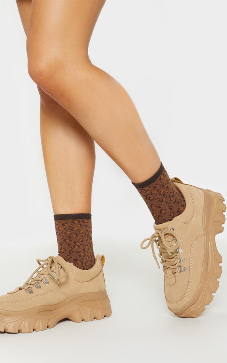 Brown Leopard Print Socks 2